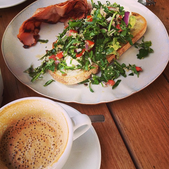 Avocado, Quinoa Tabbouleh, Meredith Dairy Goat's Cheese & Lemon Vinaigrette On Sourdough Batard @ Anvil Coffee Co