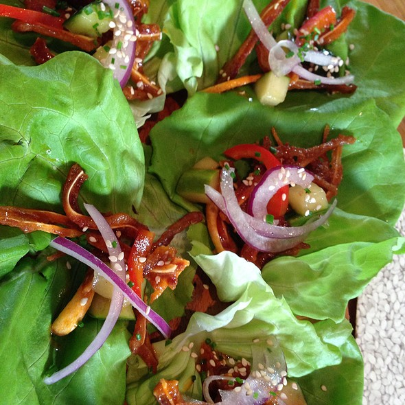 Buffalo Pig Ear Lettuce Wrap With Pickled Red Cabbage Slaw, Oranges And Cilantro @ Husk Restaurant