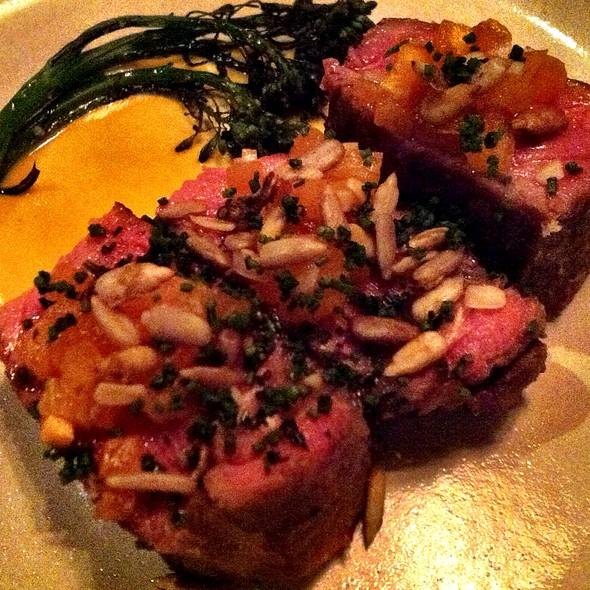 New York Steak, Persimmon-Bone Marrow Puree, Sunflower Seeds @ Rich Table