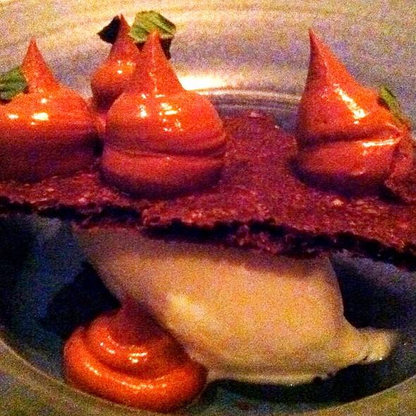 Salted Chocolate Crumb Cake, Vanilla Ice Cream, Caramelia Mousse @ Rich Table