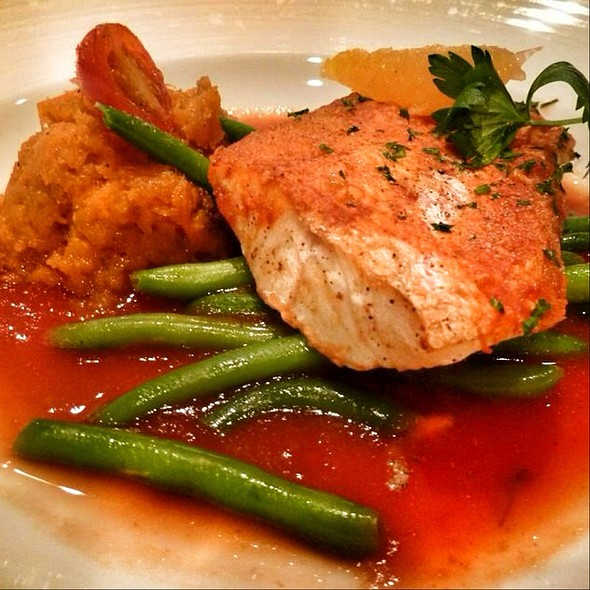 Grilled Red Snapper Fillet On Gazpacho Juice With Pumpkin And Scallion Hash @ Cruise