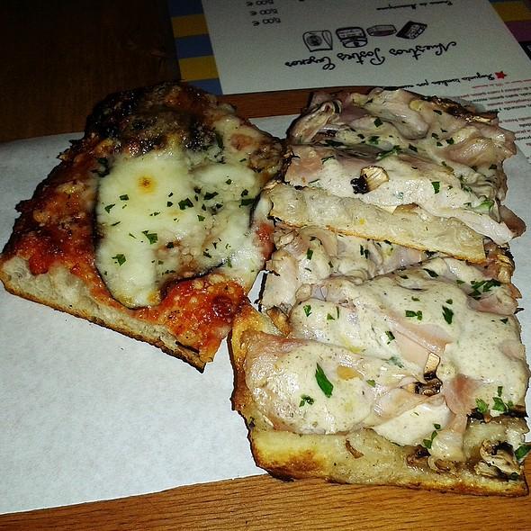 French mushroom, parma ham, fresh cheese and tartufata cream pizza &  @ Al Cuadrado Taglio Bar