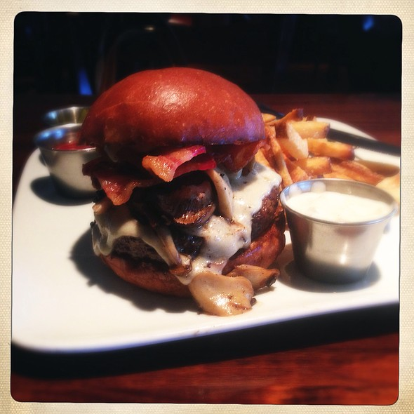 The Bacon Bleu Cheese Five-Mushroom Burger @ The League Kitchen and Tavern