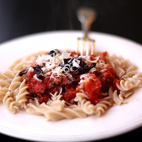 Caper And Olive Tomato Sauce On Gf Pasta @ Sar's Kitchen