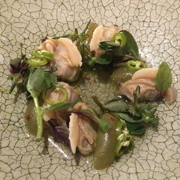Clams, Muscadine Grapes, Basil, Fushimi Peppers