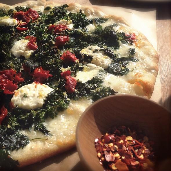 Ortica Pizza: Ricotta, Nettles, Mozzarella, Calabrian Chili, Lemon Zest @ Piccino