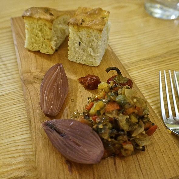 Focaccia, caponata, pickled onions and peppers @ Autre Monde