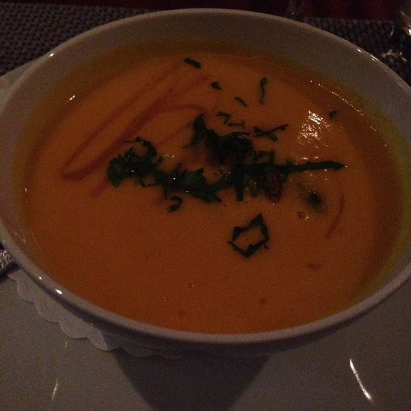 Butternut Squash And Ginger Soup, Macoun Apple Puree, Roasted Pistachios, Lovage - Mediterraneo, Greenwich, CT