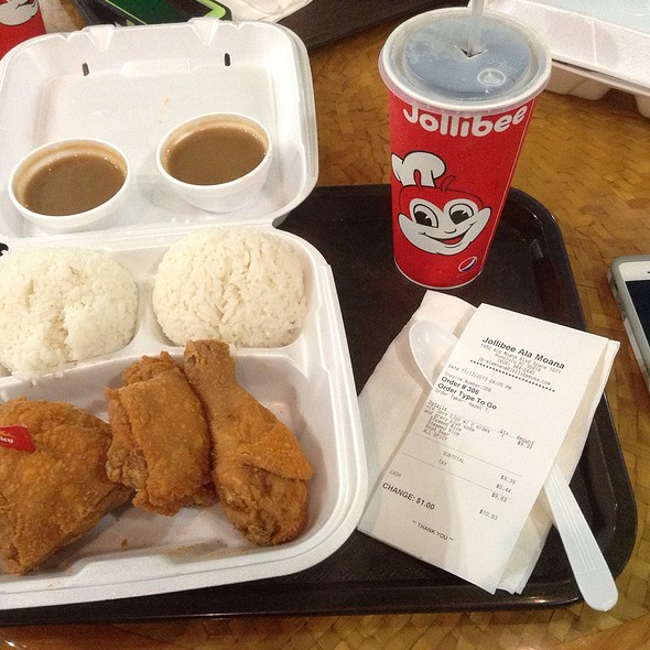 C4 3 Piece Spicy Chickenjoy With 2 Sides Of Jasmine Rice And Gravy, Plus A Medium Mug's Root Beer