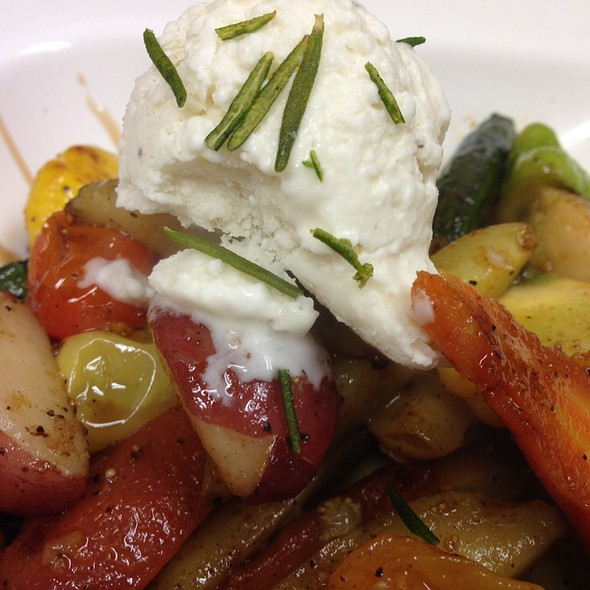Roasted Micro Vegetables with sherry reduction + goat-ricotta ice cream - Vintage Enoteca, Los Angeles, CA