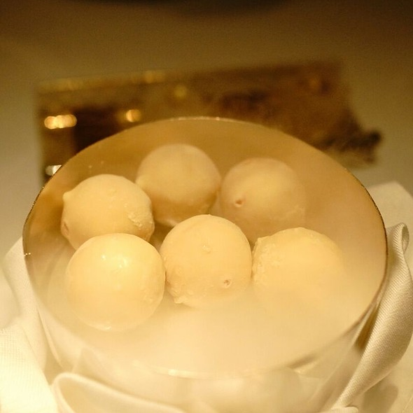 White Chocolate Strawberry Ice Cream Balls - Restaurant Gordon Ramsay, London