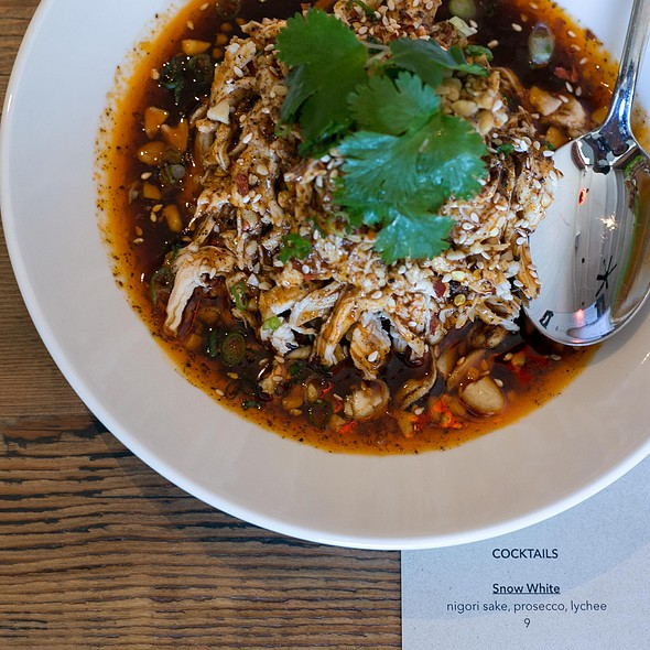 """""""Mouth watering"""" chicken, sichuan peppercorns, chili oil  @ Osmanthus"""