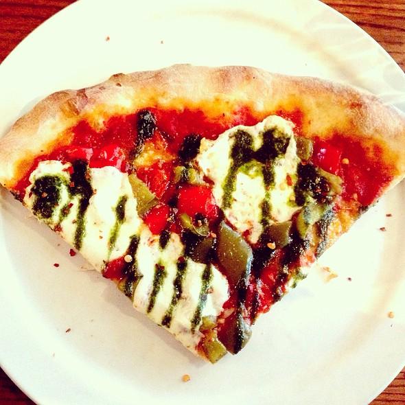 Margherita With Basil Pesto, Garlic, & Roasted Peppers @ Il Bacio Trattoria