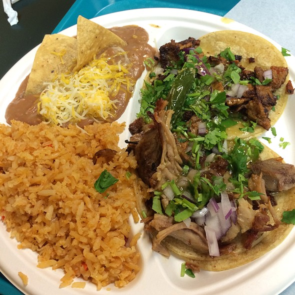 Two Soft Tacos With Rice And Beans