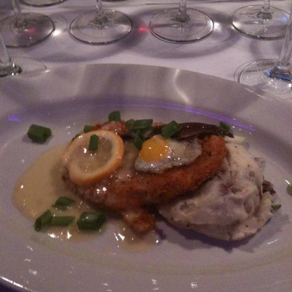 Austrian Schnitzle w/ Quail Eggs and Anchovy, Meyer Lemon Sauce, Red Skin Potato Mash - Bistro 185, Cleveland, OH