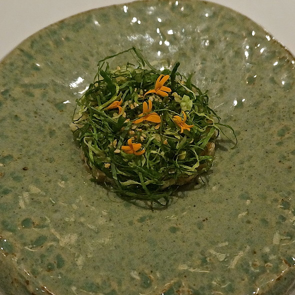 Cobia tartare, Asian pear, pine nuts, nasturtium, wasabi oil, sesame - JUNGSIK, New York, NY