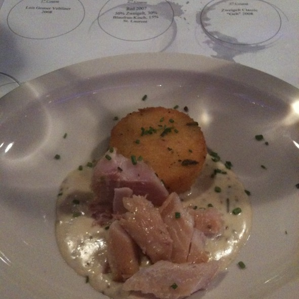Juniper Berry House Smoked Trout with Mustard Sauce and Polenta Cake - Bistro 185, Cleveland, OH