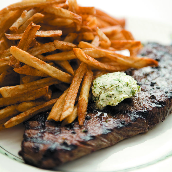 Grilled Steak with House Butter  & House-made Fries @ Le Bouchon