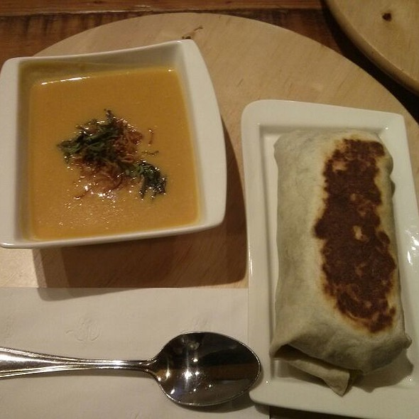 Corn Chowder with Curry Lamb Wrap