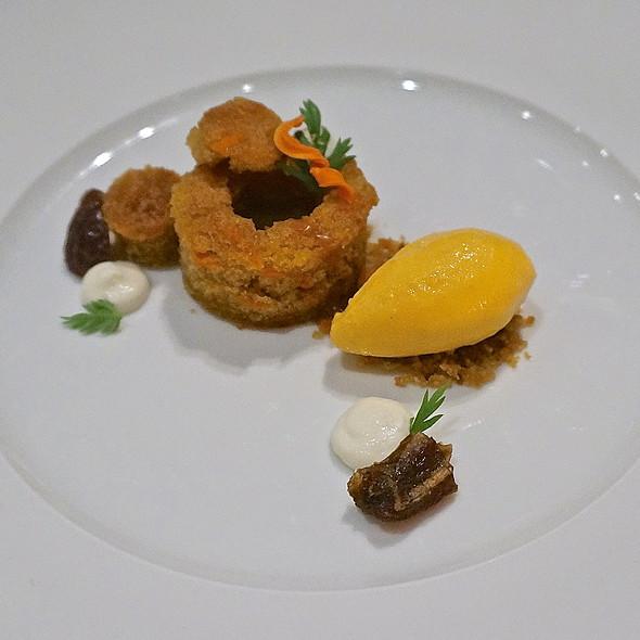 Sticky carrot cake, toffee caramel center, Greek yogurt, carrot sorbet, date
