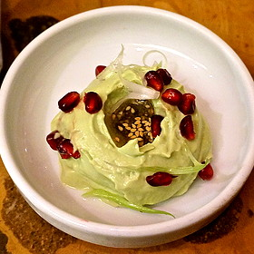 Avocado and dukkah, olive oil, pomegranate (Middle Eastern, mezes)