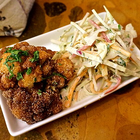 Fried cauliflower, beirut-style coleslaw, pickles, tahini (Middle Eastern, mezes)