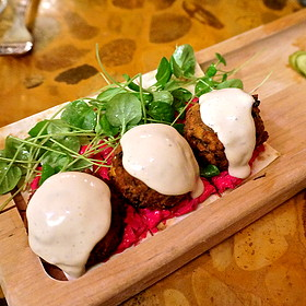 Spinach falafel, tahini sauce, beet yogurt, watercress (Middle Eastern, mezes)