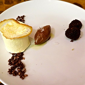 Frozen Olive Oil Soufflé with Dark Chocolate Crémeux, Roasted Figs & Vin Cotto