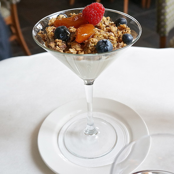Greek-style yogurt panna cotta, pecan granola, native honey, apricots