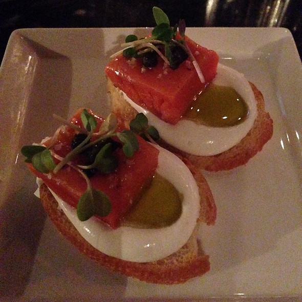 Salmon Crostini with House made Mascarpone, Capers, and Endive