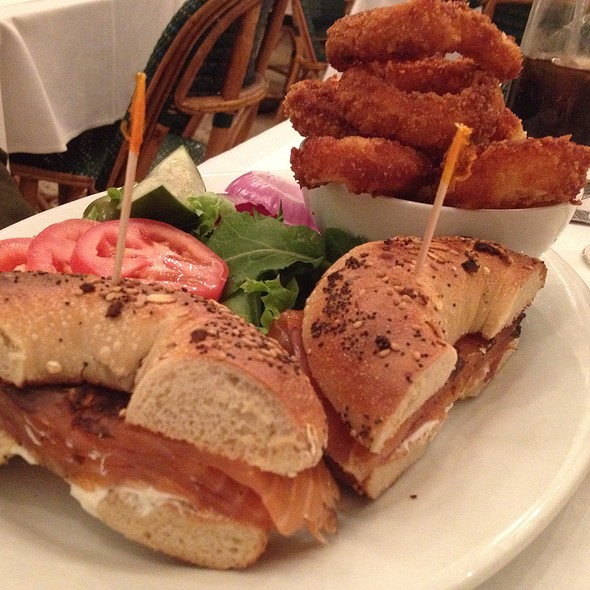 Pastrami Lox Sandwich And Onion Rings