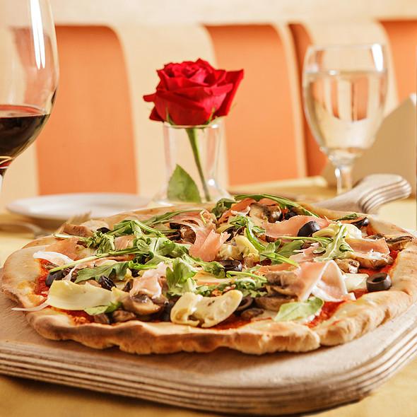 Pizza with Mushrooms, Proscutto and Basil - Il Piccolo Verde, Los Angeles, CA