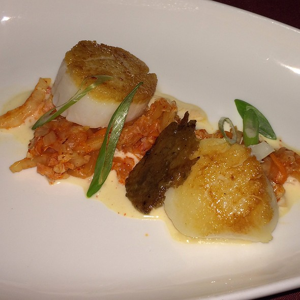 Seared Scallop Over Kimchi, Kimchi Creme Fresh And Duck Crackling