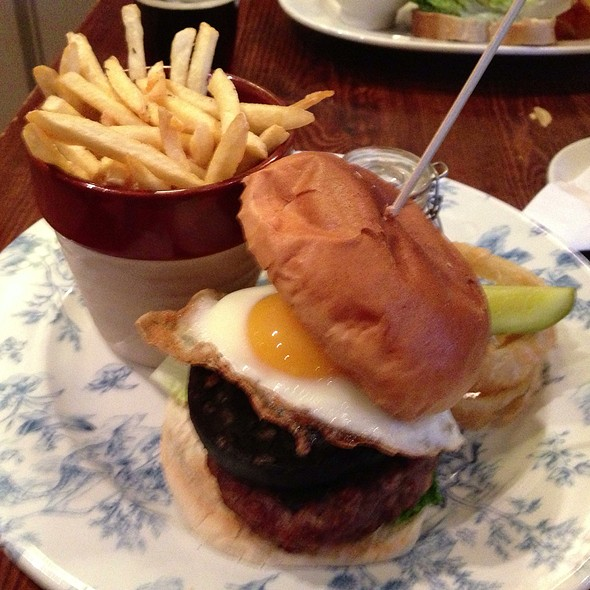 Wild Boar, Pork & Apple Burger With Onion Rings @ Swan The