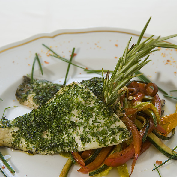 Persil grilled sea bass fillet with sautéed vegetable julienne @ Relais Le Jardin