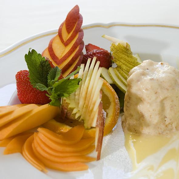 Fresh fruit platter with nougat Bavarian cream @ Relais Le Jardin