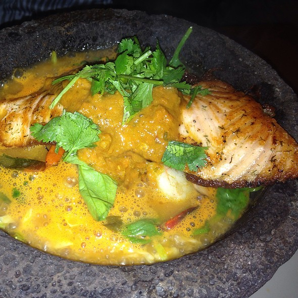 Salmon & Shrimp Molcajete @ Salsa Mexican Caribbean Restaurant