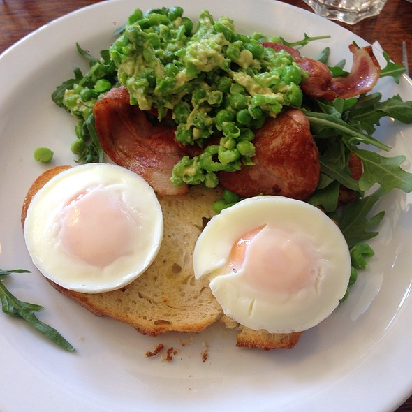 Avocado & Green Peas Mash With Bacon And Poached Eggs @ Cherry Beans Coffee