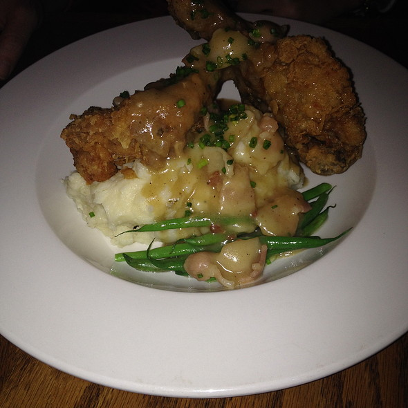 Fried Chicken, Mashed Potatoes with bacon gravy, and Hericot Verts - The Portage, Chicago, IL