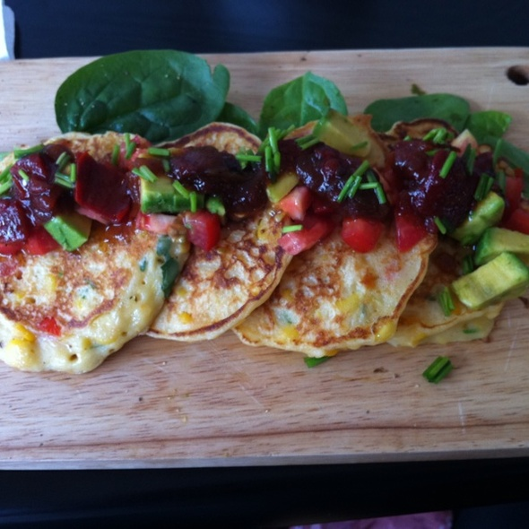 Corn Fritters with Tomato, Avocado And Capsicum Relish @ Swallow Coffee Traders