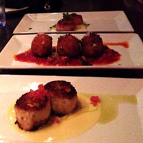 Lobster Crabcakes, Risotto Balls, And Seared Scallops