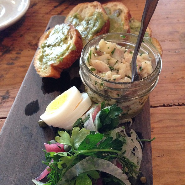Smoked Trout, Boiled Egg, Pickled Onion, Capers, Avocado Toast @ The Hart and the Hunter