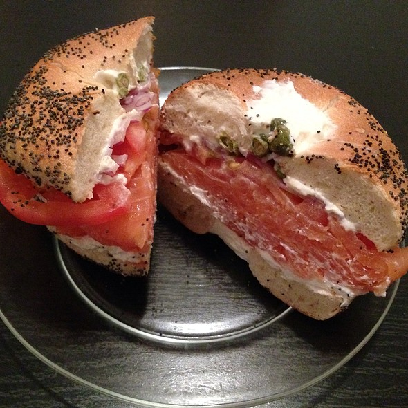 Bagel With Lox, Cream Cheese, Onion, Tomato, & Capers @ H&H Midtown Bagels East