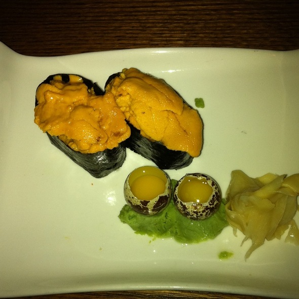 Uni Sushi With Quail Egg