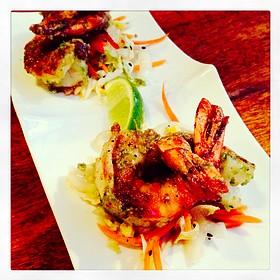 Wasabi Pea Encrusted Shrimp