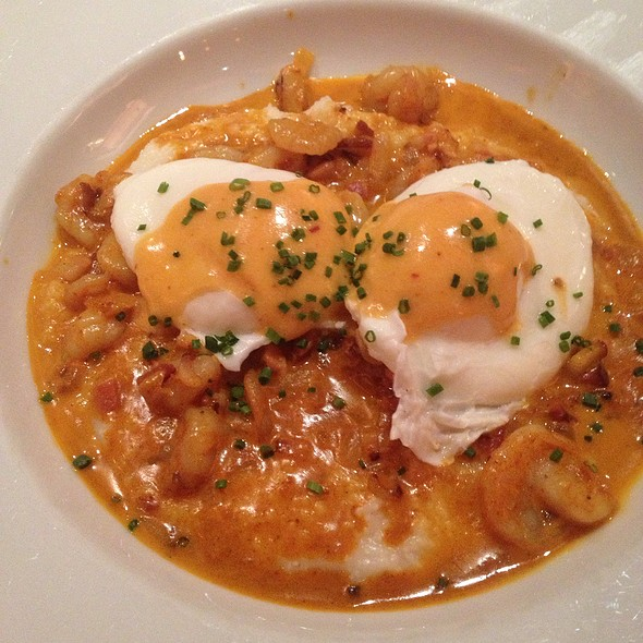 Shrimp And Grits And 2 Poached Eggs With Chipotle Hollandaise Sauce - Calle Ocho, New York, NY
