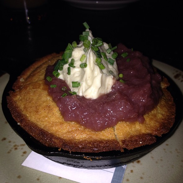 Skillet cornbread with foie gras butter and red wine pickled onions - Carriage House, Chicago, IL