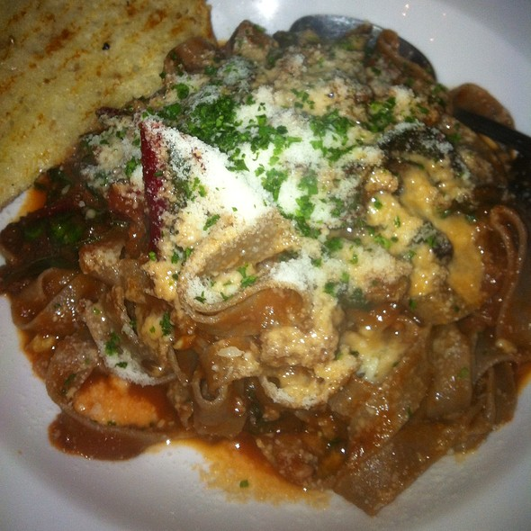 Whole Wheat Tagliatelle With Duck Sausage, Swiss Chard And Tomato Sauce @ stellina pasta cafe
