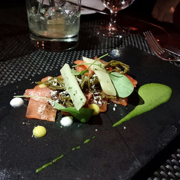 Cured Salmon With Rye Soil, Pickled Sea Asparagus, And Salsify - Diva at the Met, Vancouver, BC