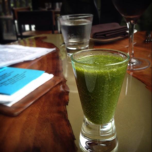 ginger, pea shoot and citrus shooter @ Skool Restaurant